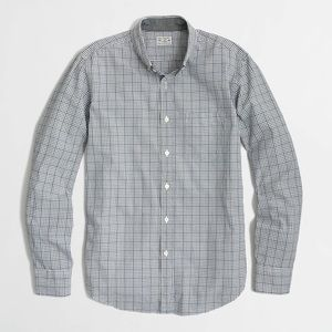Men's J. Crew Washed Shirt in Grey/Navy Mini-Plaid